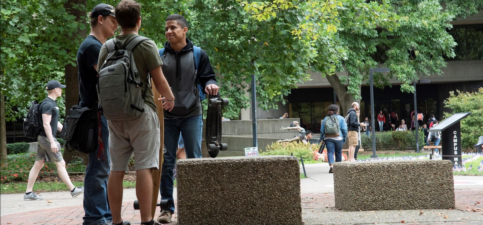 Students talking in Quad