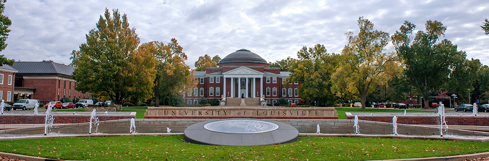 Exterior photo of Grawemeyer Hall, UofL campus