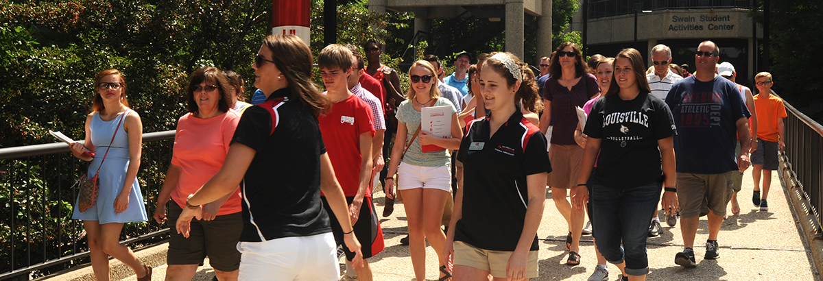 Students and Parents on UofL Campus during a visit.