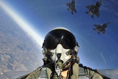 Pilot in air