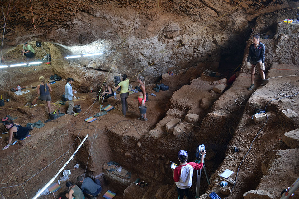 Archaeology site in cave