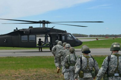 Cadets preparing to board the UH-60