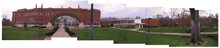 Lutz Hall and Schneider Hall, handbuilt panorama by Leslie Friesen
