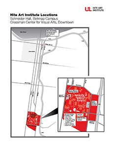 Map of Hite Art Institute Location, Schneider Hall, Belknap Campus, Cressman Center for Visual arts, Downtown