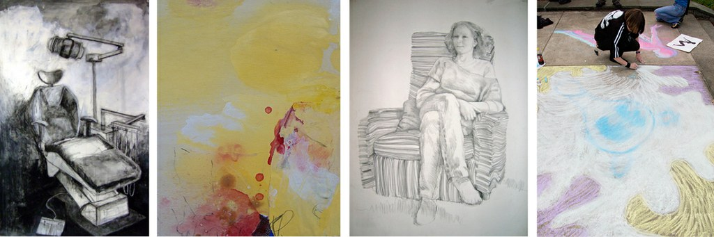 Drawing work by students at the University of Louisville Hite Art Institute