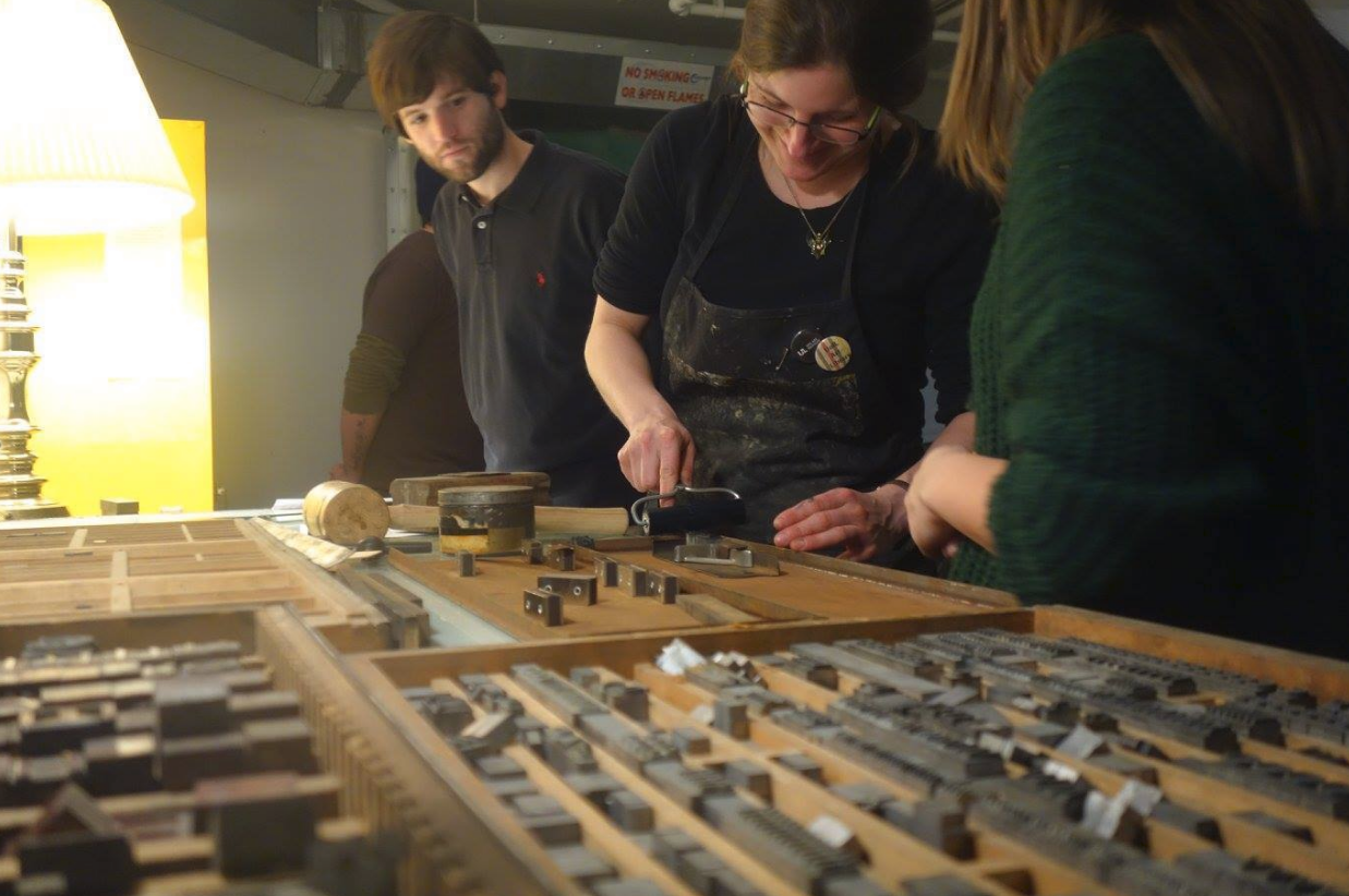 Rachel Singel working in Printmaking Studio