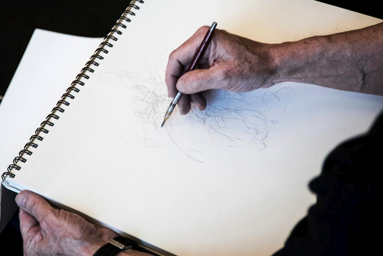 Jim Grubola in drawing studio