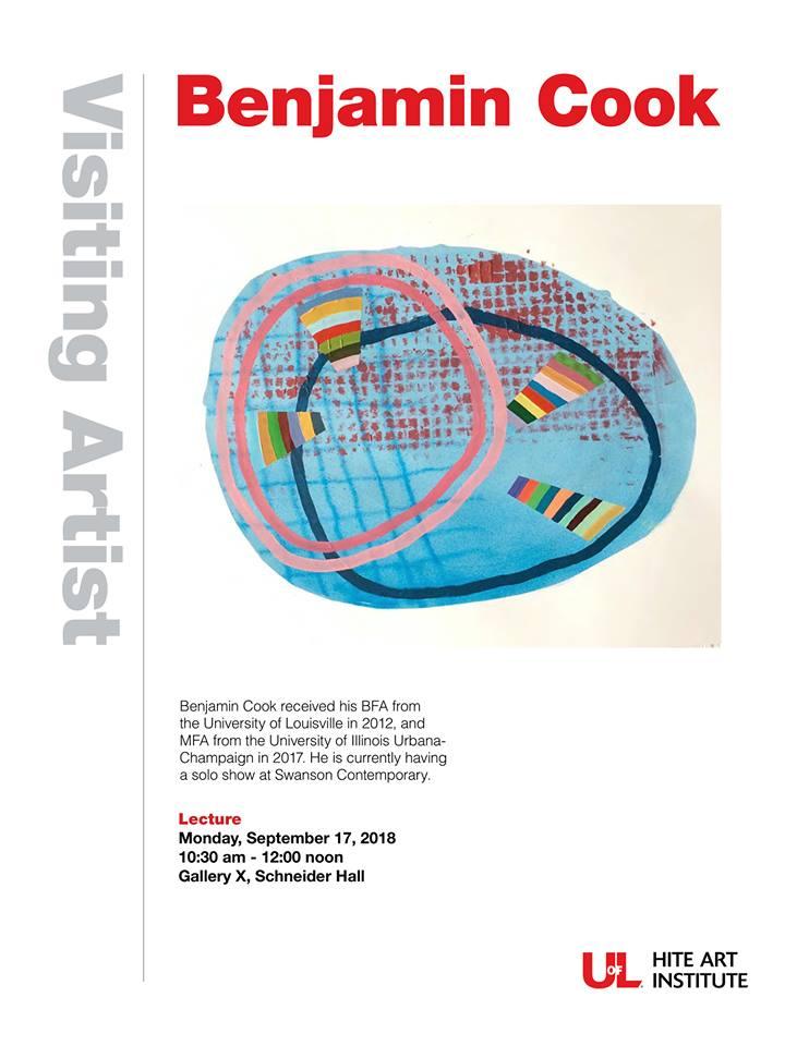 U of L visiting artist flier featuring Benjamin Cook