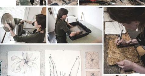 photos of Rachel Singel working with printmaking