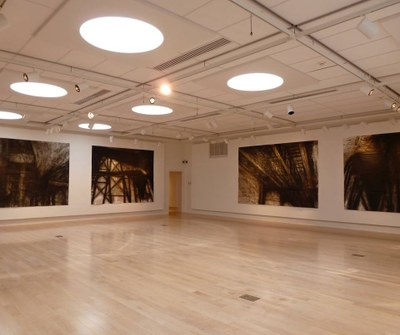 Photograph of Professor Chan's works exhibited in a gallery.