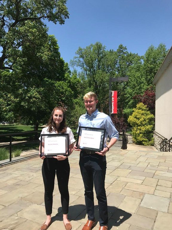 Sara Olshansky and Henry Kerns outside of Schnieder Hall with Covi Scholarship