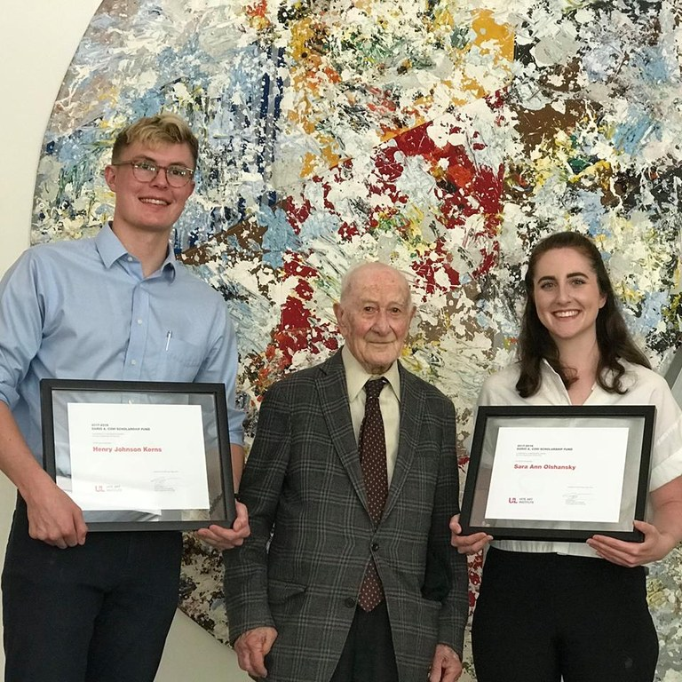 Sara Olshansky and Henry Kerns with Dr. Covi for Covi Scholarships