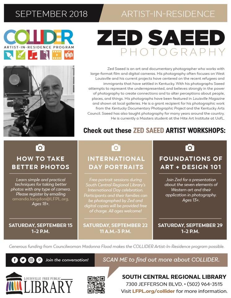 Screenshot of Zed Saeed featured in Louisville Public Library Artist-In-Residence Website