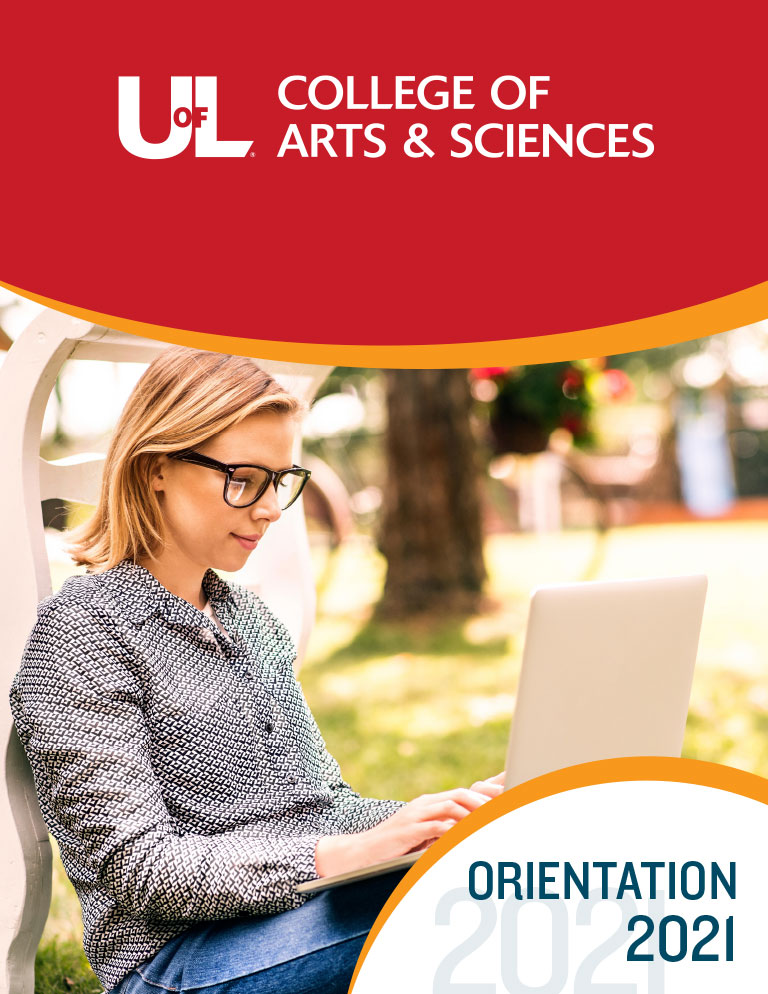 2021 A&S Freshman Orientation booklet cover with a female student working on her laptop.
