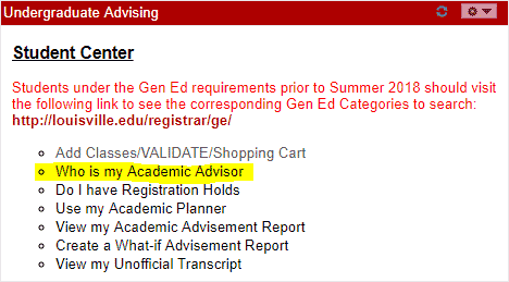 UGA sample screen of how to find your advisor
