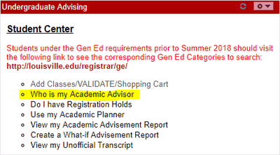 UGA sample screen my advisor