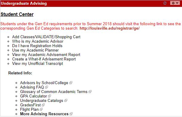 Student center screenshot