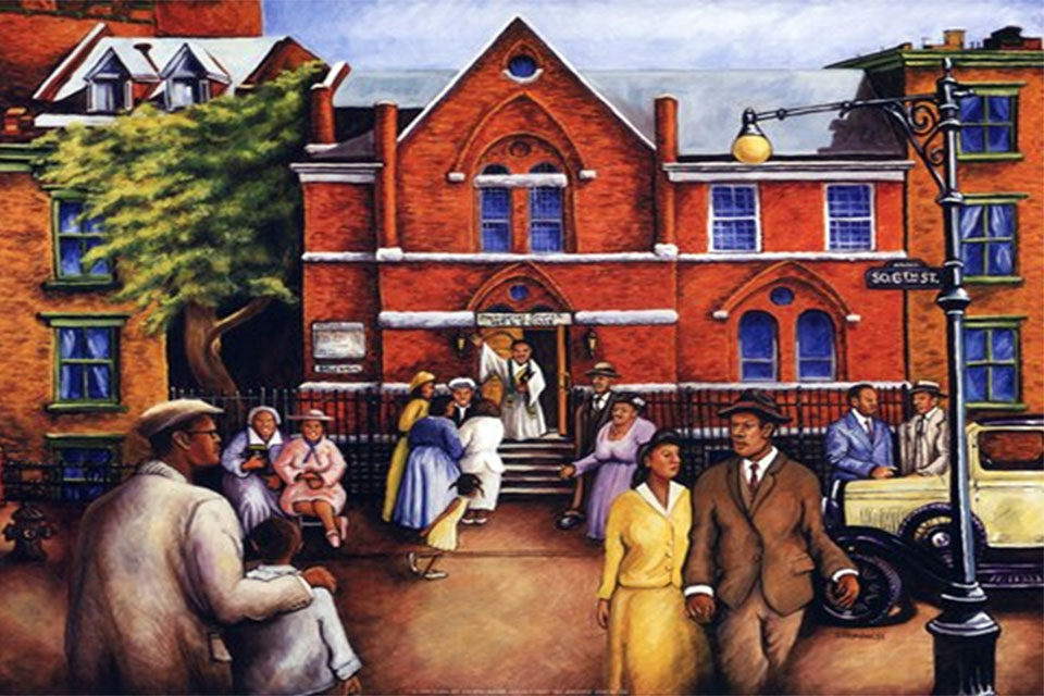 City Church Gathering oil painting