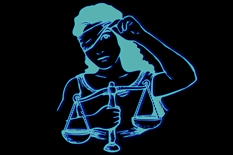 Illustration of lady justice peeking from her blindfold
