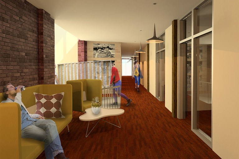 Rendering of Archaeology lab space - students in a hallway