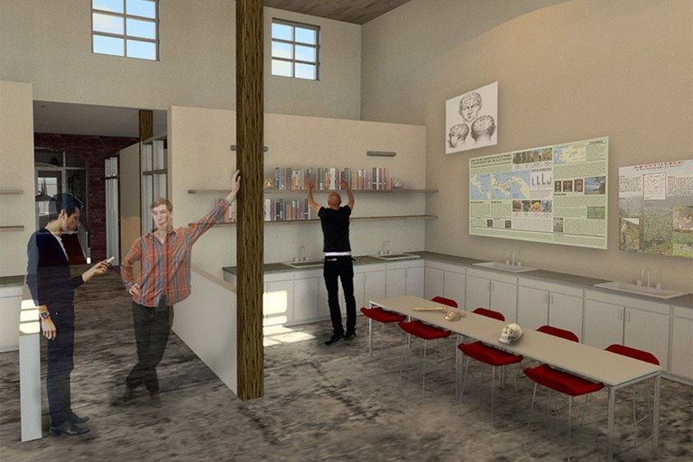 Rendering of Archaeology lab space - students in a lobby
