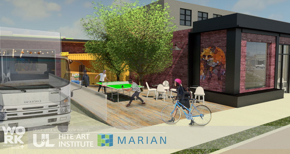 Rendering of exterior of new building - people walking on the street
