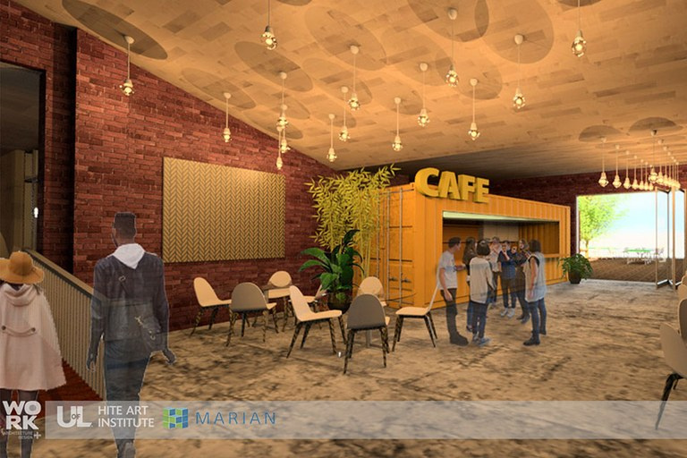 Rendering of interior of new building - people in a cafe