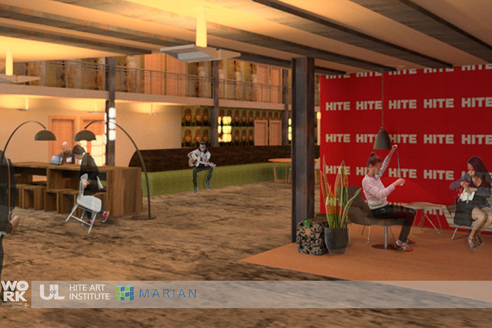 Rendering of interior of new building - people sitting in a lobby