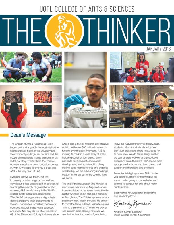 the thinker a s biannual newsletter college of arts sciences