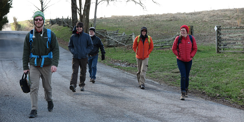 Left to right Researchers DJ Biddle (Geography & Geosciences), Vince DiNoto (JCTC), Andrea Gaughan (Geography & Geosciences), alumna Laura Krauser (Geography & Geosciences), and Forrest Stevens (Geography & Geosciences) leaving the Perryville battlefield