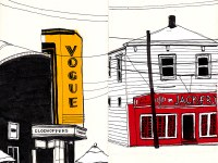 Khalili's drawing of the Vogue theater in Louisville and Jack Frys