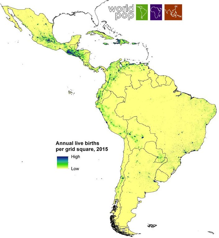 Map of South America showing annual live births per grid square 2015 World Pop