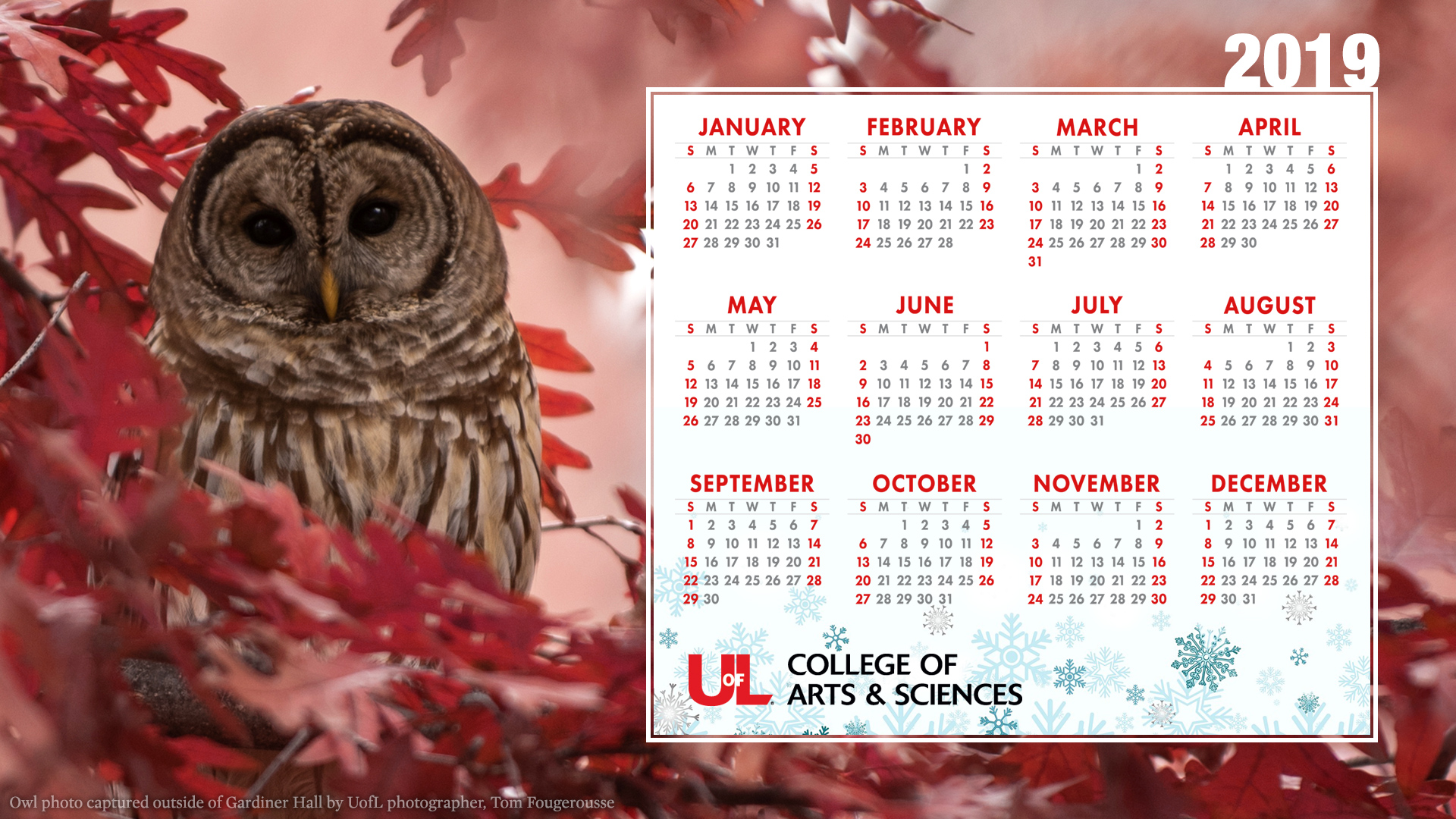 Uofl Calendar 2019 2019 Holiday Calendar Desktop Wallpaper — College of Arts & Sciences
