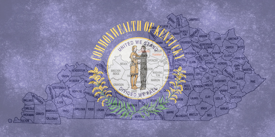 Kentucky map with counties, Kentucky state flag in background with text Commonwealth of Kentucky, United we stand, Divided we fall