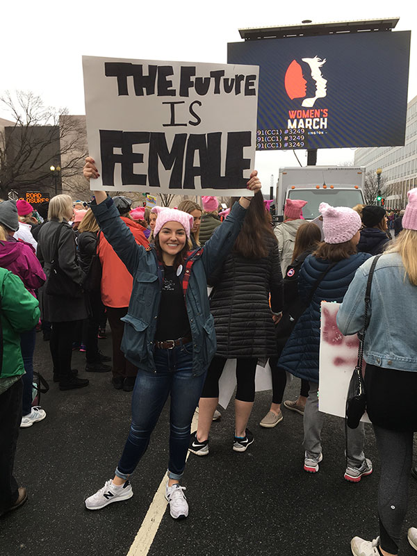 Political science undergraduate student Celia Cusick participated in the January 21 Women's March in Washington D.C. Cusick said she marched to show that she stood not only for her personal values, but for the values that reflect an America that is inclusive, compassionate, and tolerant.