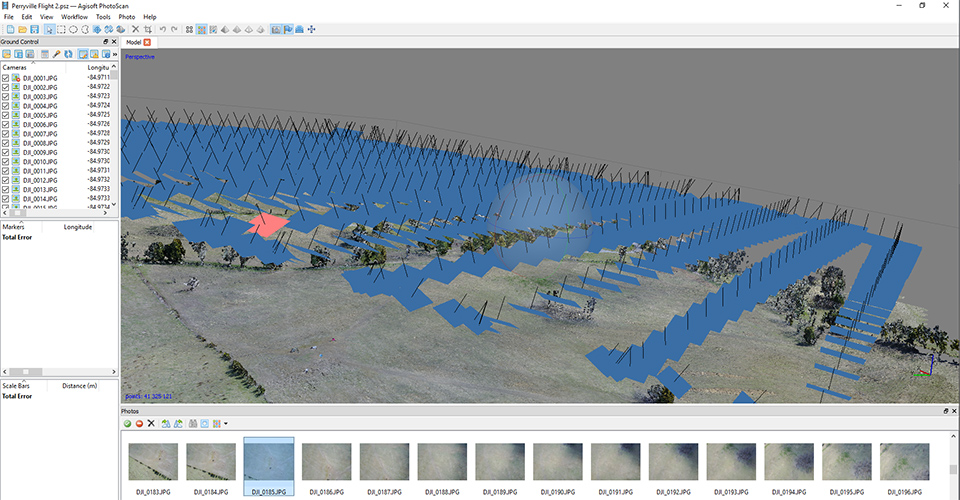 Screenshot of Agisoft, a GIS sotware program, to input and map data taken by drones flying over the Perryville battlefield