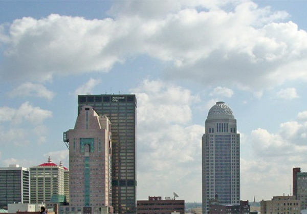 skyline of the city of Louisville along river