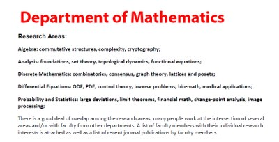 The Department of Mathematics' Faculty, Research Areas and Publications