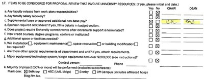 Section 17 of the Proposal Clearance Form involving University resources