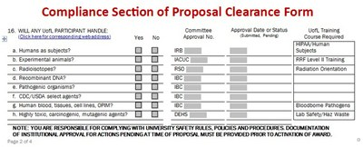Compliance Section of Proposal Clearance form