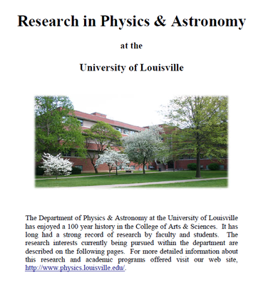research in physics and astronomy at University of Louisville complete profile