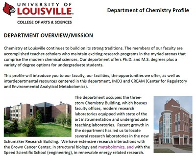 dept overview and mission Chemistry complete profile
