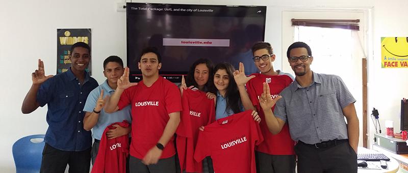 Panama Students with UofL T-shirts