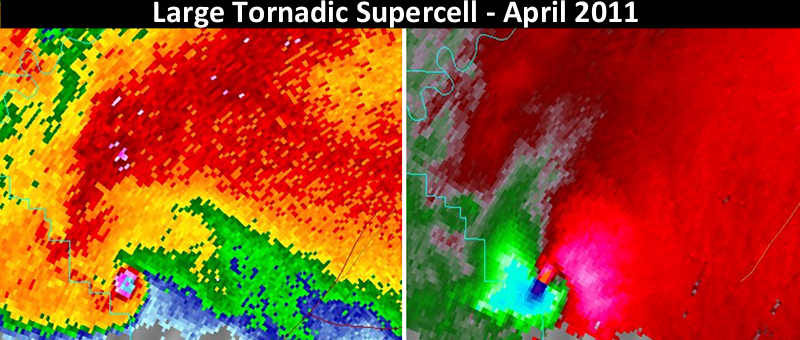 NWS Doppler Radar Reflectivity (left) and Storm-Relative Velocity (right) of a large tornadic supercell thunderstorm over northern Alabama, April 2011.