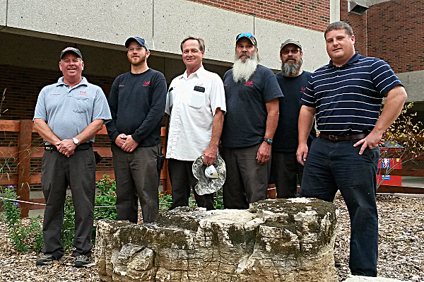 The Horticultural Groundskeepers who helped start this garden.  Left to Right:  Rick Williams, Jon Adams, Mickey Paul, Brian Tinnel, Eric Tinnel, and Superintendent Greg Schetler.