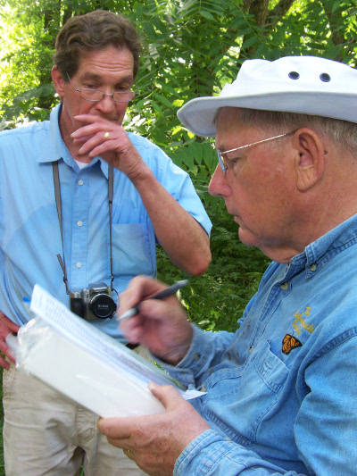 Dr. Charles Covell compiles data at the 2014 butterfly count.