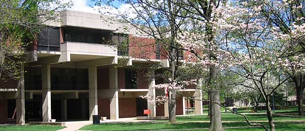 decorative header showing the Life Sciences building in spring