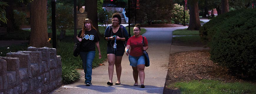 Students walking on the L Trail