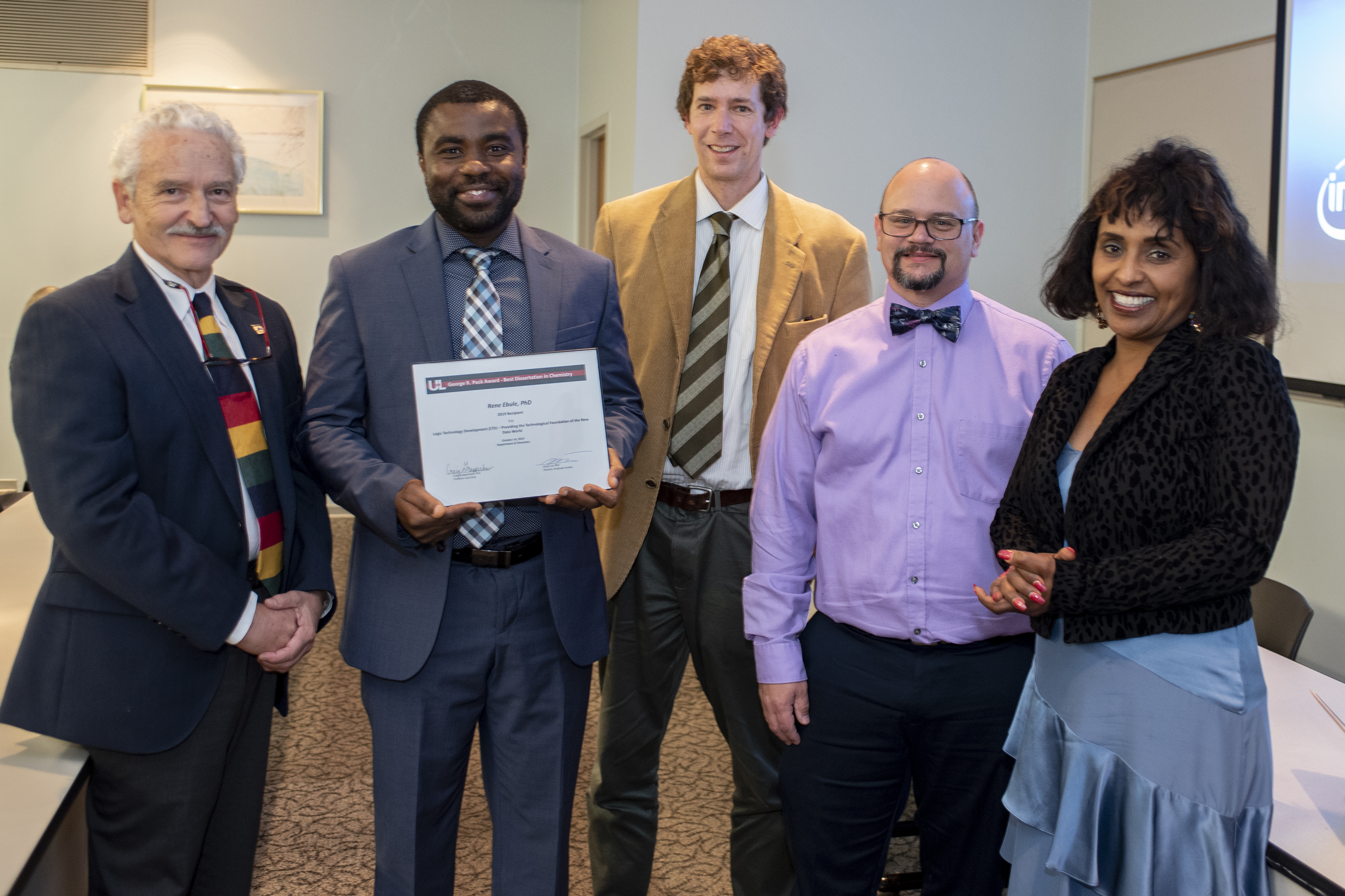 2019 George R. Pack Award for Most Outstanding Chemistry PhD Dissertation Ceremony