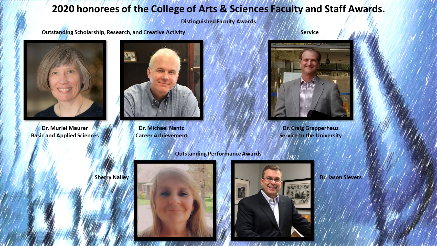 2020 honorees of the College of Arts & Sciences Faculty and Staff Awards.